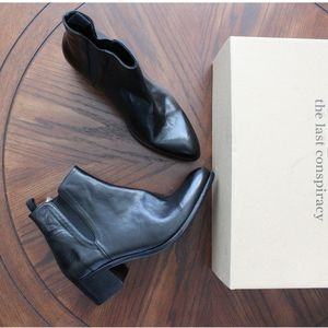The Last Conspiracy Black Ankle Block Heeled Boots